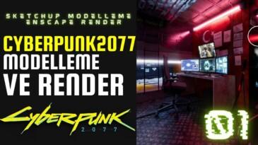 CYBERPUNK 2077 OYUNUNDAN BİR SAHNEYİ MODELLEDİK RENDER ALDIK 01